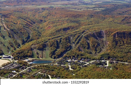 Arial view of Blue Mountain ski hills near Collingwood Canada