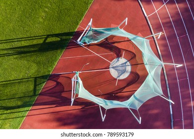 arial view of discus in track and field