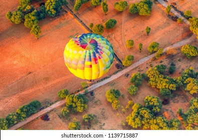 arial view of hot air balloon in jaipur india