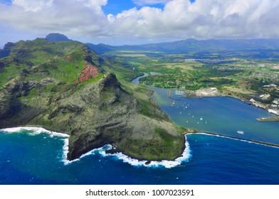 Arial view of Kauai, Hawaii shorelines