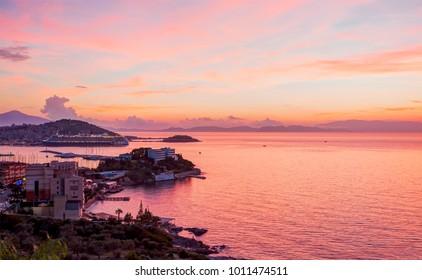 Arial view of Kusadasi harbor by sunset