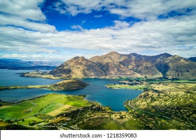 Arial view  of Lake  Wanaka in New Zealand