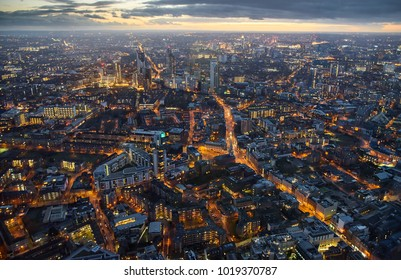 Arial view of London at dusk