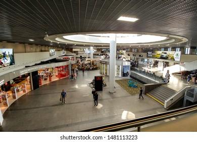 Arial view of the main terminal of the Pulkovo International Airport in Saint Petersburg. Saint Petersburg, Russia, June 3, 2019.