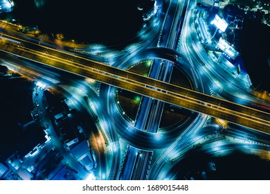 Arial view of Modern transportation with Expressway, Road and Roundabout,  Road traffic, multilevel junction highway-Top view. Important infrastructure.