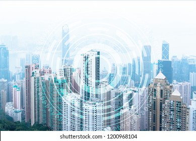Arial view of modern urban skyline with skyscrapers. Financial downtown in big city.  Exchange stock markets. Global communications and networking. Cyber security. E-business and e-banking