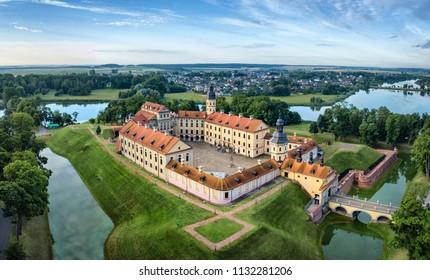Arial view of Nesvizh Castle, Belarus