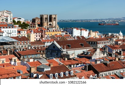 Arial view on red roofs at Lisabon, Portugal