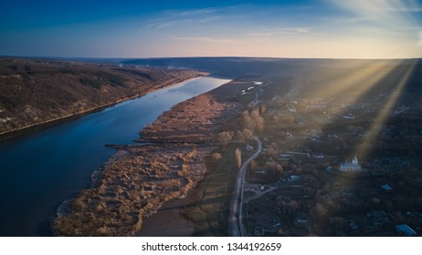 arial view over the river at sunset