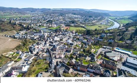 Arial view over small german old village Saarburg