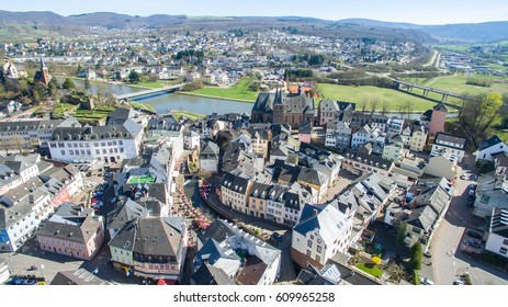 Arial view over small german old village city
