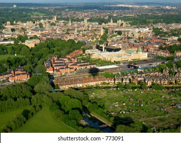Arial view of Oxford, UK, from a hot air balloon