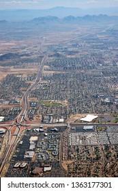 Arial view of Phoenix Arizona Deer Valley Suburb at Highway 101