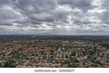 Arial view  of rain clouds over Gilbert Arizona