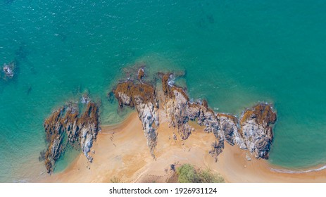 The arial view the rock on the beach with blue sea,Khao Lak,Phang Nga,Thailand.