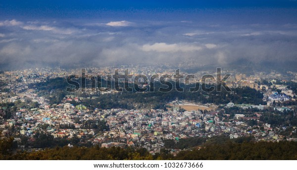 Arial view of Shillong city, the capital city of India,s northeastern state of Meghalaya.