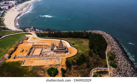 Arial view of Shore Temple of Mahabalipuram. The Shore Temple is so named because it overlooks the shore of the Bay of Bengal. It is located near Chennai in Tamil Nadu.