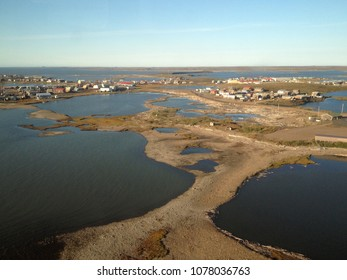 Arial view of Tuktoyaktuk in the Northwest Territories, Canada