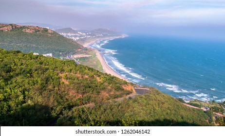 Arial View of Visakhapatnam/ Vizag city beside Bay of Bengal from Titanic viewpoint at Kailasagiri.
