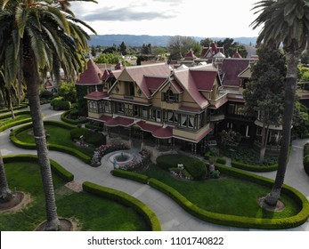 Arial view of The Winchester Mystery House