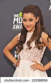 Ariana Grande at the 2013 MTV Movie Awards at Sony Studios, Culver City. April 14, 2013  Los Angeles, CA Picture: Paul Smith