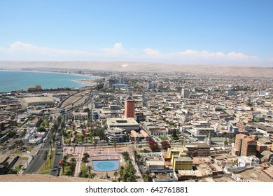 ARICA, CHILE - APRIL 13, 2017: Aerial view on Arica city from El Morro hill, Chile.