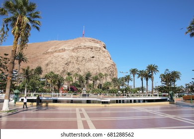 ARICA, CHILE - APRIL 13, 2017: Panoramic view on El Morro hill in Arica, Chile.