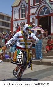 ARICA, CHILE - FEBRUARY 10, 2017: Member of a Waca Waca dance group in ornate costume performing at the annual Carnaval Andino con la Fuerza del Sol in Arica, Chile.