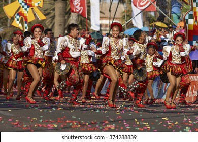 ARICA, CHILE - JANUARY 24, 2016: Caporales dancers in ornate costumes performing at the annual Carnaval Andino con la Fuerza del Sol in Arica, Chile.