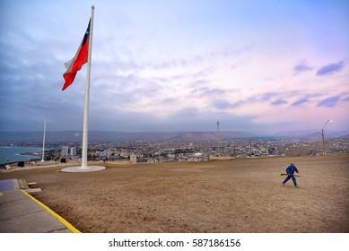 ARICA, CHILE - JUNE 9, 2015: Vew to Arica city from el Morro de Arica hill in Arica, Chile