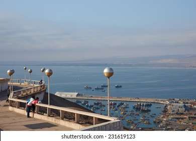 ARICA, CHILE - OCTOBER 11, 2014: View over the coastal city of Arica in northern Chile from the Morro de Arica