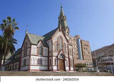 ARICA, CHILE - OCTOBER 20, 2013: San Marcos cathedral exterior in Arica, Chile. It was designed by Gustave Eiffel, constructed in the 1870's.