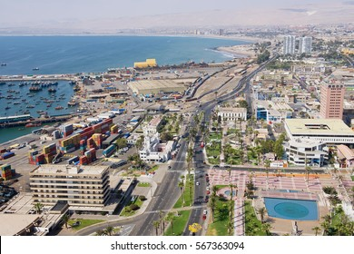 ARICA, CHILE - OCTOBER 20, 2013: Aerial view to Arica city and port from El Morro hill in Arica, Chile.
