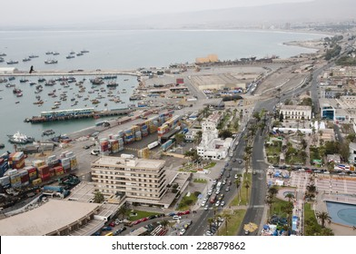 ARICA, CHILE - SEPTEMBER 21, 2014: Aerial view of the port of Arica and the main street