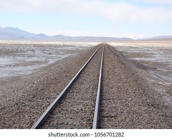 Arica - La Paz railway track on Bolivian side running towards Chile