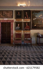 ARICCIA, ITALY - APRIL 9, 2017: Aristocratic interior from Chigi palace public wing. The Chigi family line has got popes, cardinals and bankers