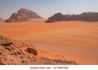 Arid landscape in Wadi Rum desert, Jordan