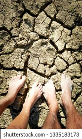 Arid landscape.Cracked ground dry land during the dry season in rice field agriculture area natural disaster damaged agriculture