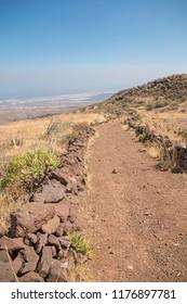 Arid small path for trekking.