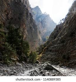 Arid terrain of the Samaria Gorge, Crete