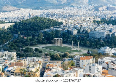 Arieal view on the Temple of Olympian Zeus in Athens (Olympieion or Columns of the Olympian Zeus)