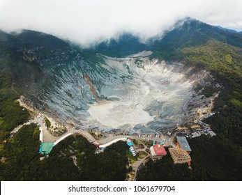Ariel Shot of Tangkuban Perahu Stratovolcano, North Bandung,  West Java, Indonesia