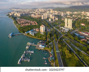 ariel view of Bukit Jambul Georgetow, Penang. Malaysia. George Town is the colorful, multicultural capital of the Malaysian island of Penang