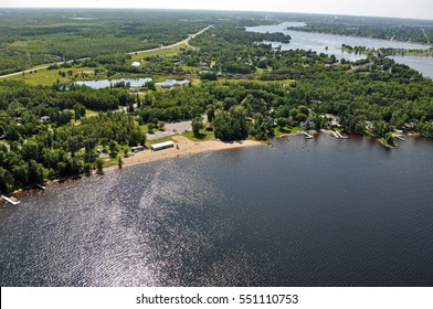 Ariel View of City Beach in International Falls, Minnesota - Koochiching County