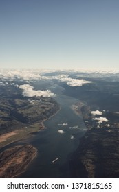 Ariel view of Columbia River Gorge.
