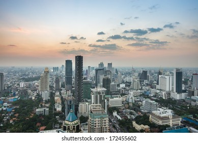Ariel view of downtown Bangkok from roof top