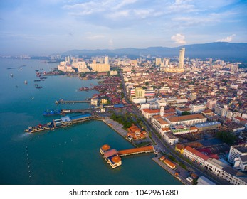 Ariel view of Georgetown, Penang. Malaysia. George Town is the colorful, multicultural capital of the Malaysian island of Penang. visible noise