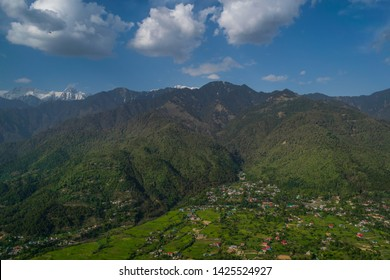 Ariel view of Himalayan mountains in bir billing.