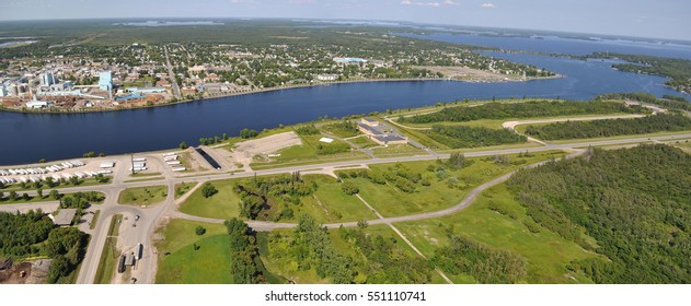 Ariel View of International Falls, Minnesota and Fort Frances, Ontario, Canada - Rainy River and Rainy Lake - Koochiching County