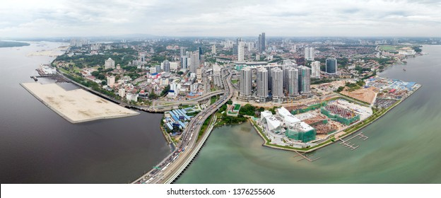 Ariel View of Johor Bahru City, Malaysia from Selat Tebrau sea